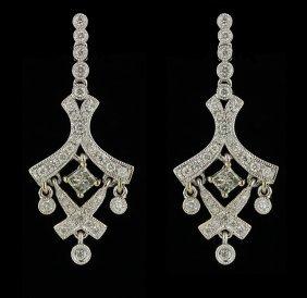 14KT White Gold 1.02ctw Diamond Earrings FJM2340