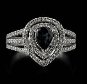 14KT White Gold 0.92ct Sapphire and Diamond Ring FJM228