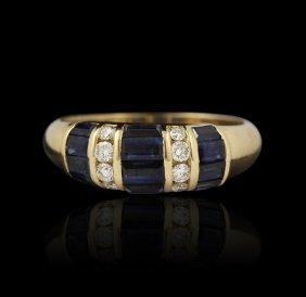 14KT Yellow Gold 1.09ct Blue Sapphire & Diamond Ring A4