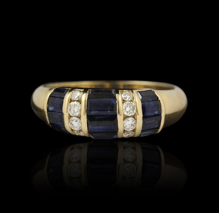 14KT Yellow Gold 1.09ct Blue Sapphire & Diamond Ring A4