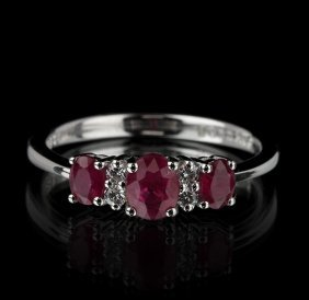 14KT White Gold 0.88ctw Ruby and Diamond Ring FJM2282