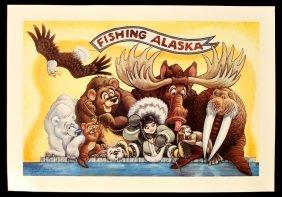 Fishing Alaska by G.R. Cassarino Walt Disney Artist  AP