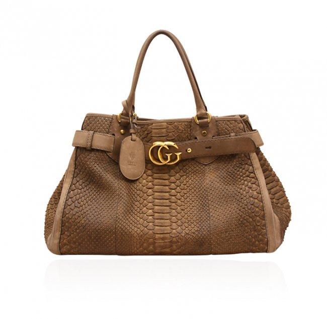"Gucci Brown Python ""GG Running"" Large Tote Bag ED1448"