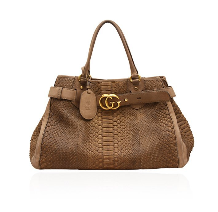 "Gucci Brown Python ""GG Running"" Large Tote Bag ED1448"