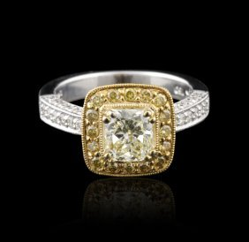 18KT Two-Tone, Yellow & White Gold 0.99ct Diamond Ring