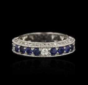 18KT White Gold Blue Sapphire and Diamond Band Ring GB1