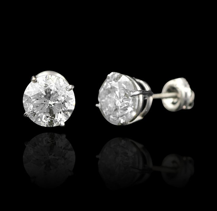 14KT White Gold 4.20ctw Diamond Solitaire Earrings A412