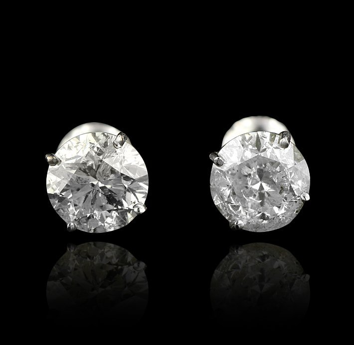 14KT White Gold 4.20ctw Diamond Solitaire Earrings A412 - 2