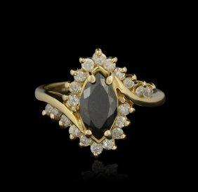 14KT Yellow Gold 0.85ct Black Diamond and White Diamond