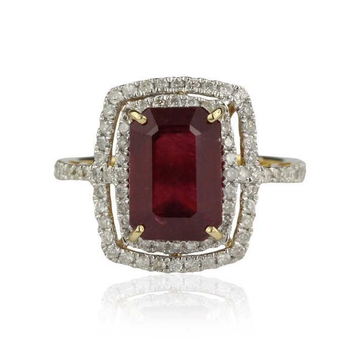 14KT Yellow Gold 4.52ct Ruby and Diamond Ring RM925