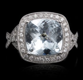 18KT White Gold 3.78ct Aquamarine and Diamond Ring FJM2