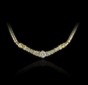 14KT Yellow Gold 1.07ctw Diamond Necklace GB389