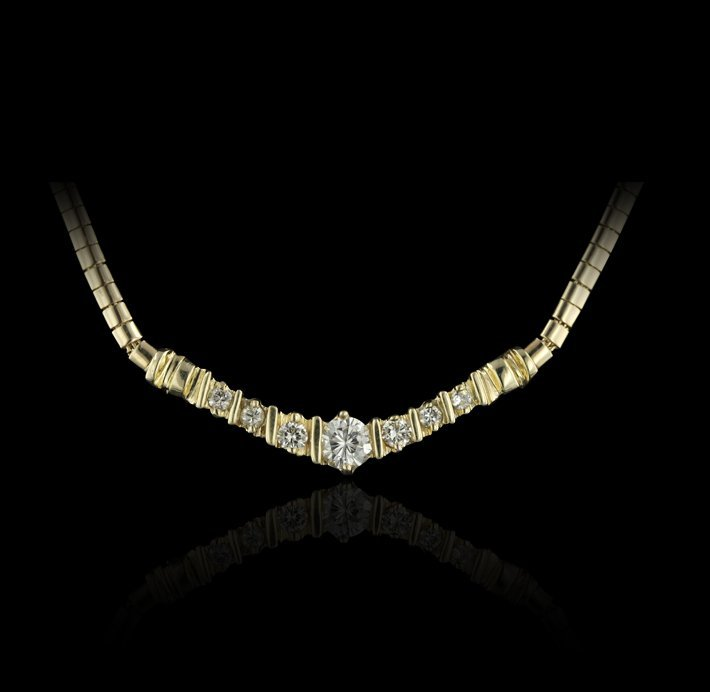14KT Yellow Gold 1.07ctw Diamond Necklace GB389