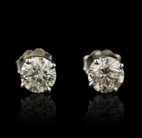 14KT White Gold 1.38ctw Diamond Stud Earrings FJM2337