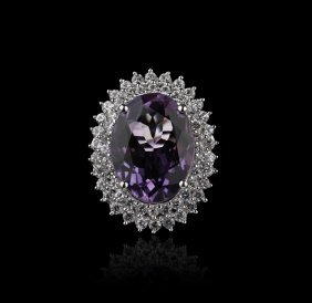 SILVER 8.86ct Amethyst and White Sapphire Ring FJM2163