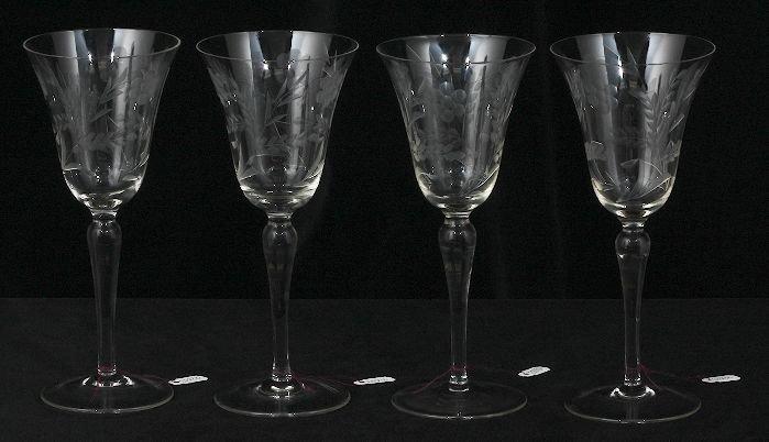 4 vintage etched wine glasses ed230 - Etched Wine Glasses