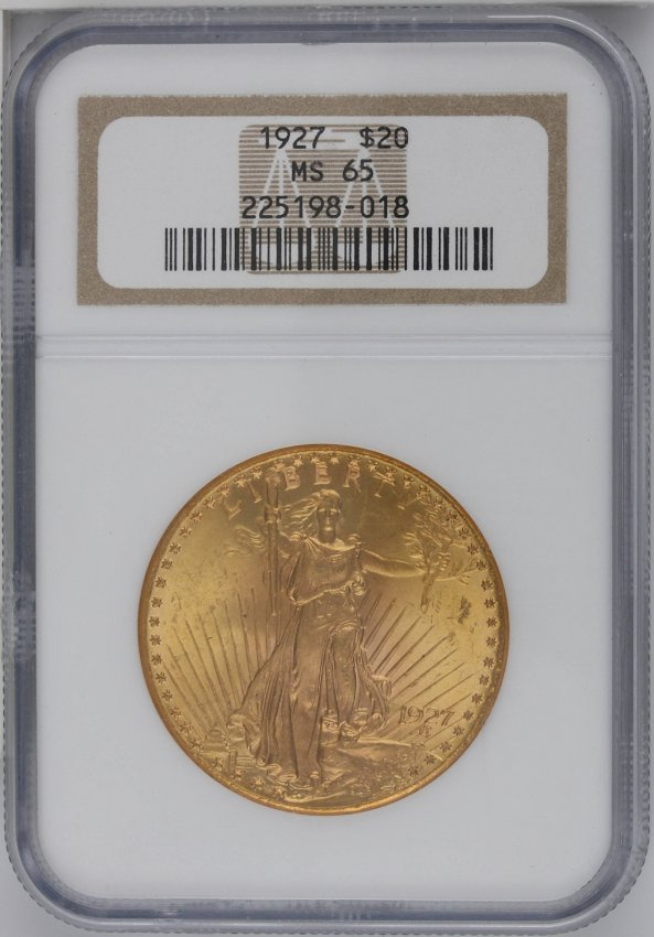 1927 $20 NGC MS65 St. Gaudens Double Eagle Gold Coin GO