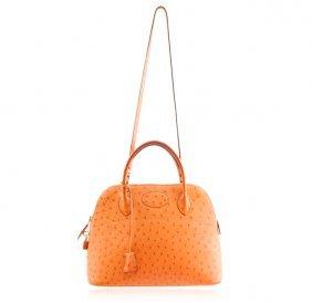 Hermes Orange Ostrich Bolide Handbag Tote LB24