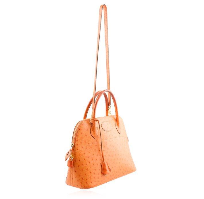 Hermes Orange Ostrich Bolide Handbag Tote LB24 - 2