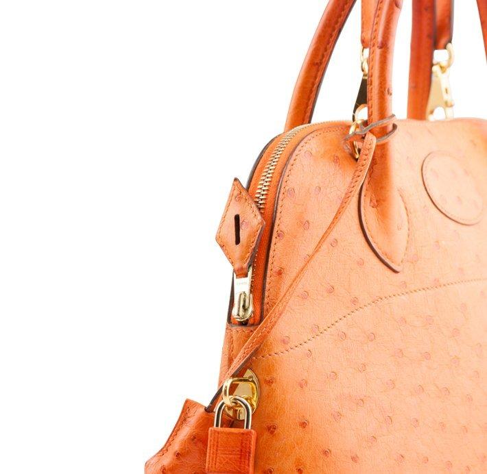 Hermes Orange Ostrich Bolide Handbag Tote LB24 - 3