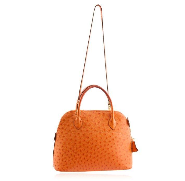 Hermes Orange Ostrich Bolide Handbag Tote LB24 - 4