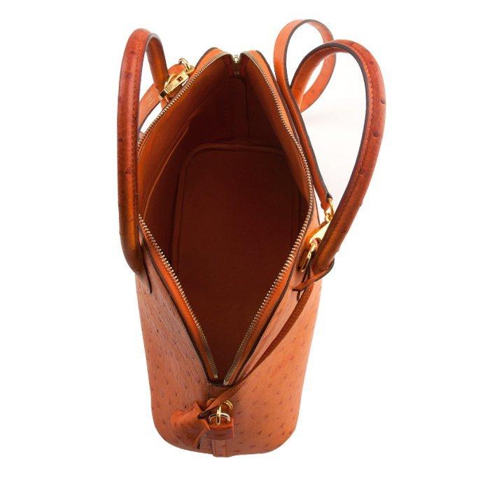 Hermes Orange Ostrich Bolide Handbag Tote LB24 - 5