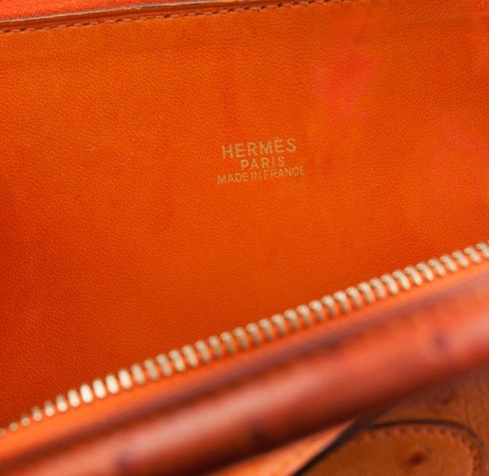 Hermes Orange Ostrich Bolide Handbag Tote LB24 - 6