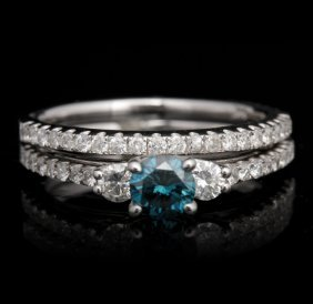 14KT White Gold 0.41ct Blue and White Diamond Wedding S