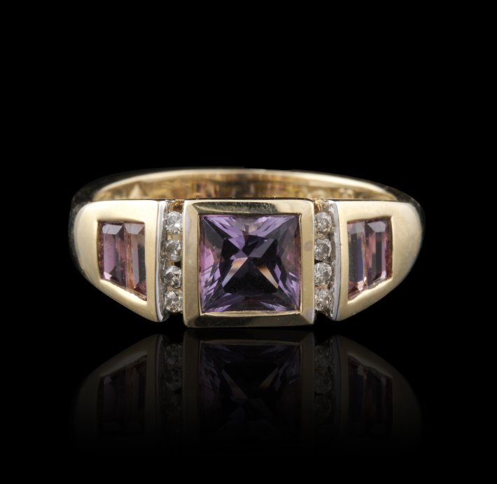 14KT Yellow Gold Amethyst & Diamond Ring FJM2565