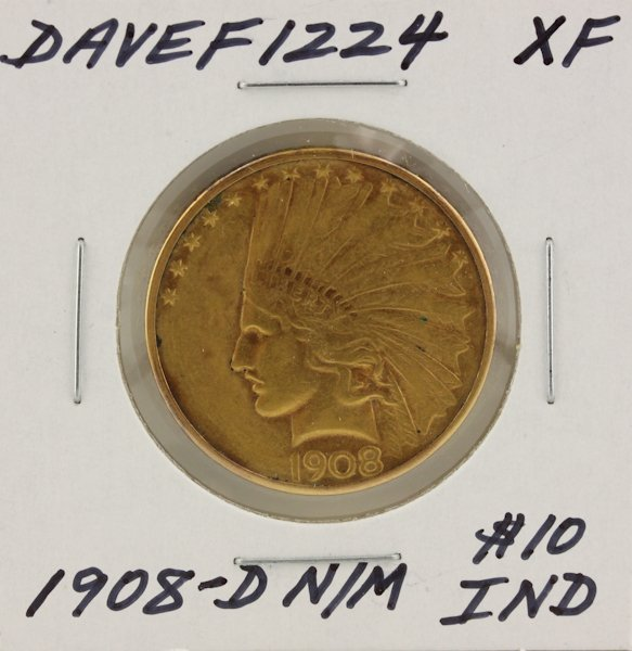 1908-D N/M $10 XF Indian Head Eagle Gold Coin DaveF1224