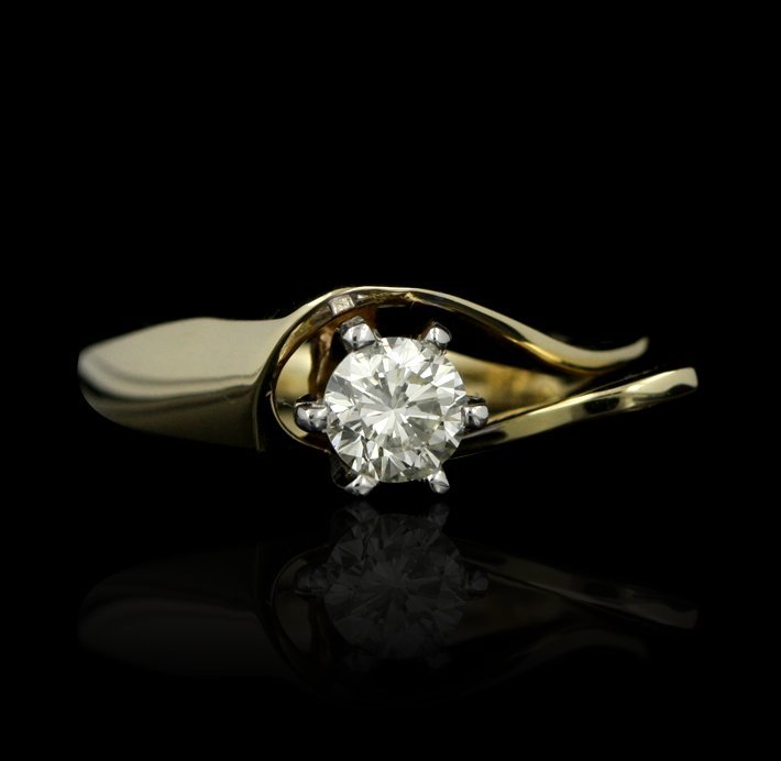 14KT Yellow Gold 0.50ctw Diamond Solitaire Fashion Ring