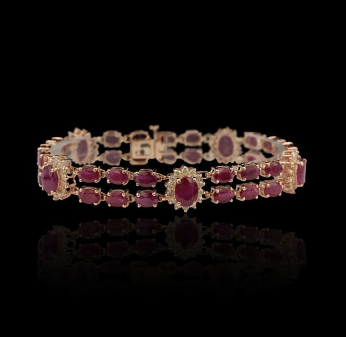 14KT Rose Gold 22.88ct Ruby & 1.68ct Diamond Bracelet F