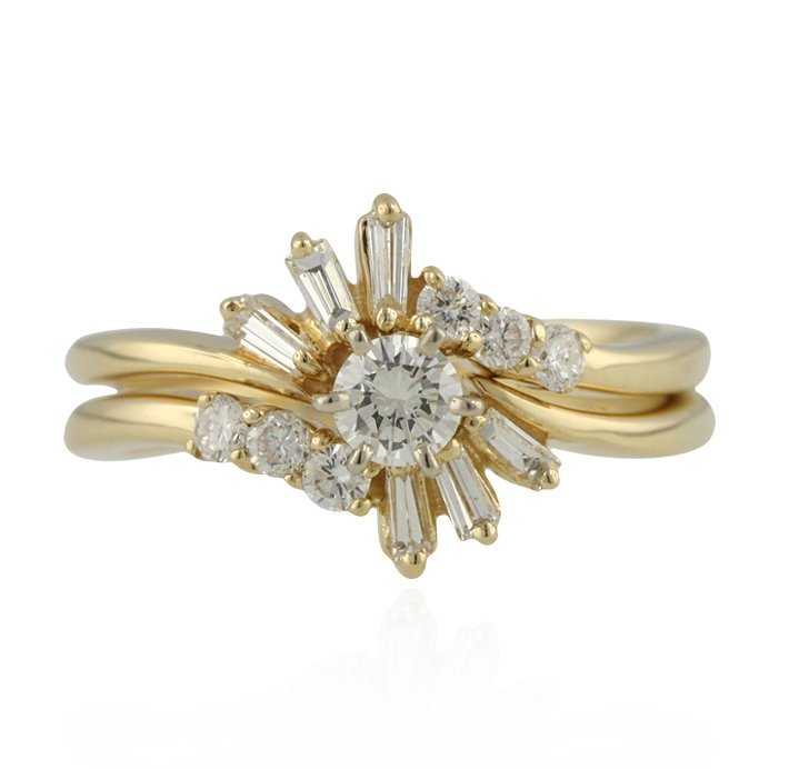 14KT Yellow Gold 0.77ctw Diamond Wedding Set GB415