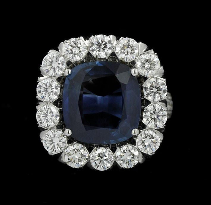 18KT White Gold 8.08ct Sapphire & Diamond Ring CNS11