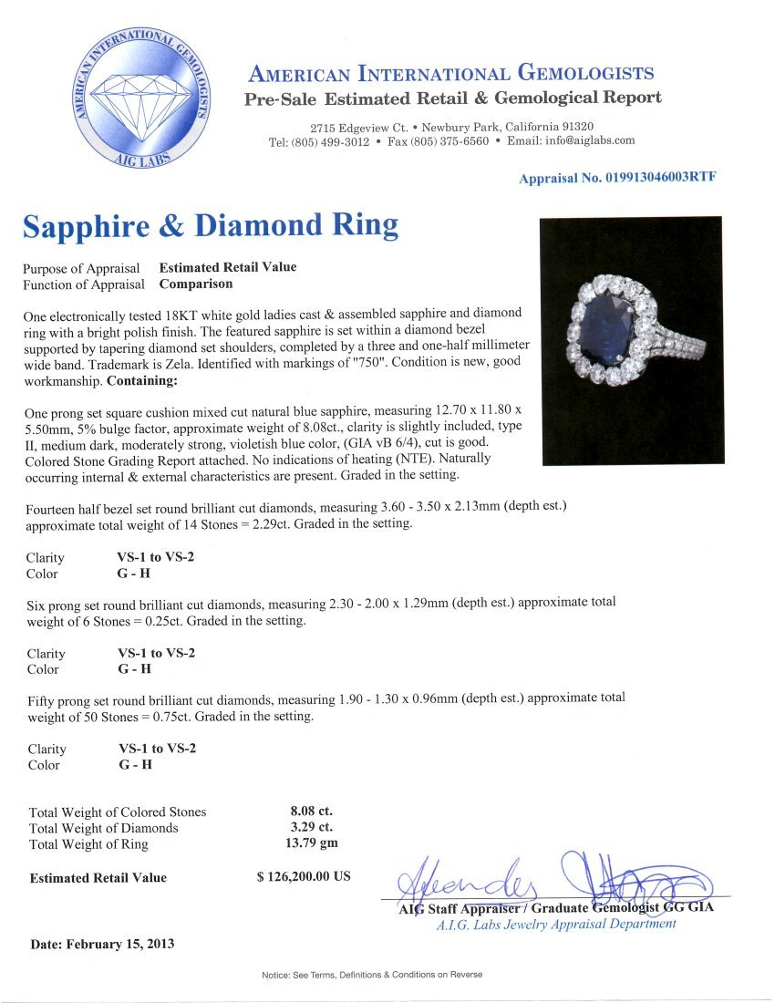 18KT White Gold 8.08ct Sapphire & Diamond Ring CNS11 - 3