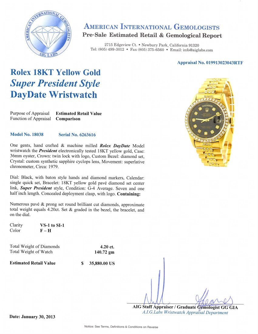 Rolex 18KT Yellow Gold Super President Style DayDate Wr - 4