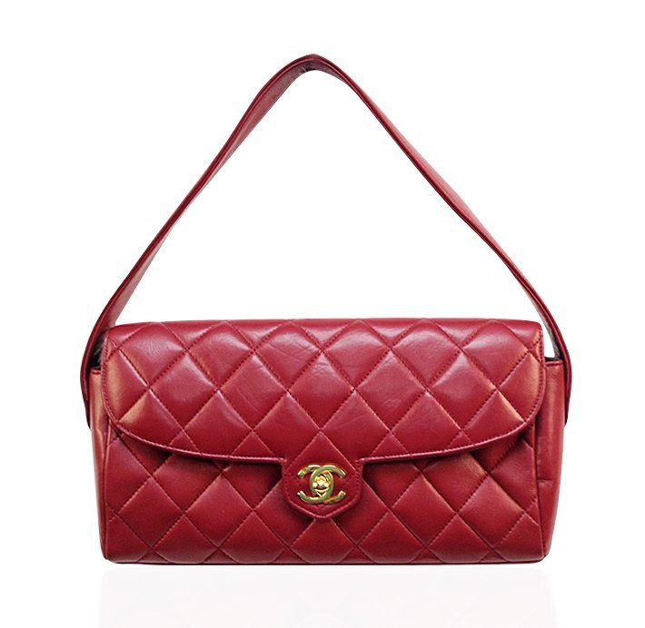 Authentic Chanel Red Epsom Leather Quilted Shoulder Han