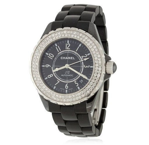 Chanel J12 Automatic Black Ceramic W Diamonds Ladies W