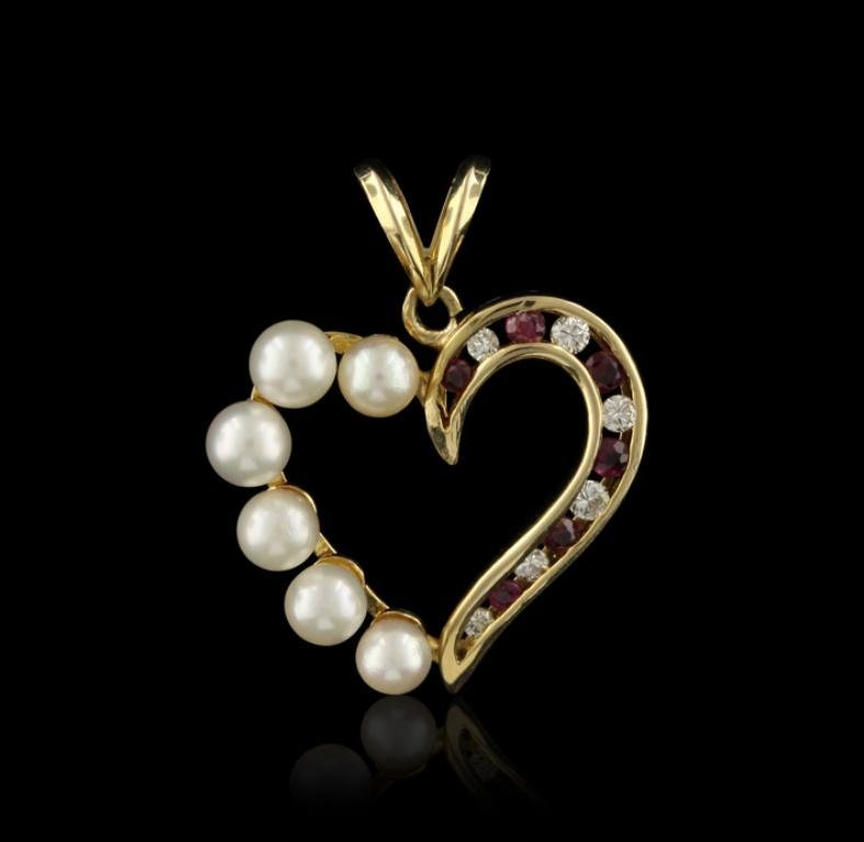 14KT Yellow Gold Diamond, Ruby and Pearl Heart Pendant