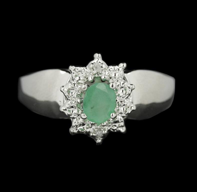 SILVER 0.32ct Emerald & White Sapphire Ring SLV208