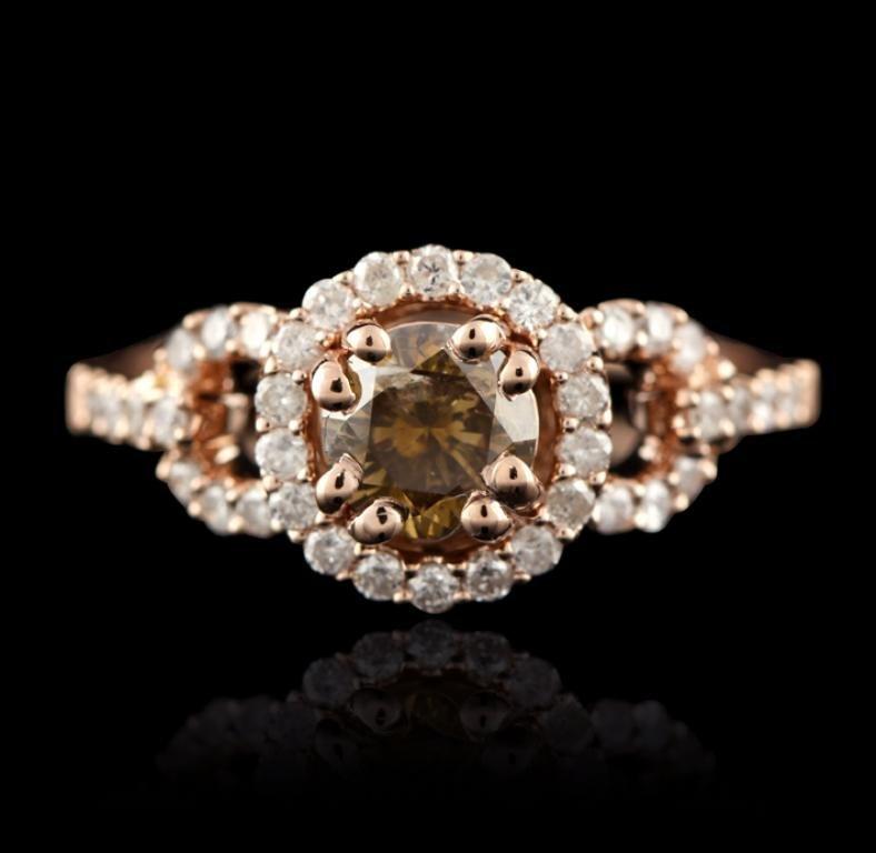 14KT Rose Gold 1.07ctw Brown & White Diamond Ring