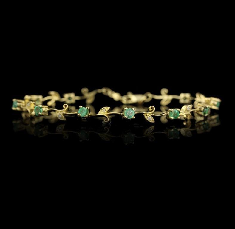 14KT Yellow Gold Emerald and Diamond Bracelet GB957