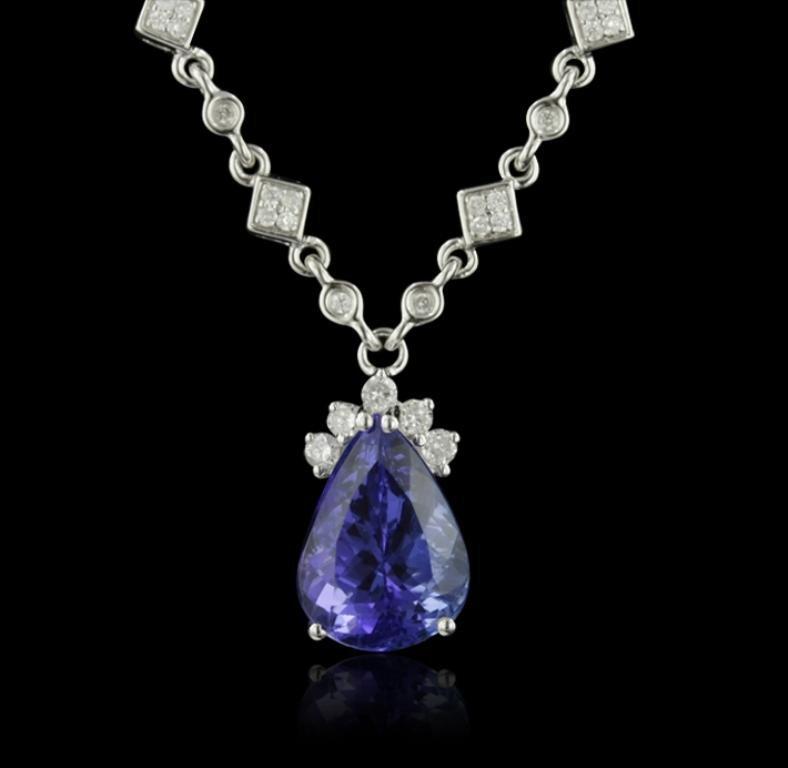18KT White Gold 6.10ct Tanzanite and Diamond Necklace