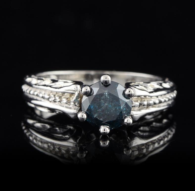 14KT White Gold 1.15ct I-3/Greenish Blue Diamond Ring