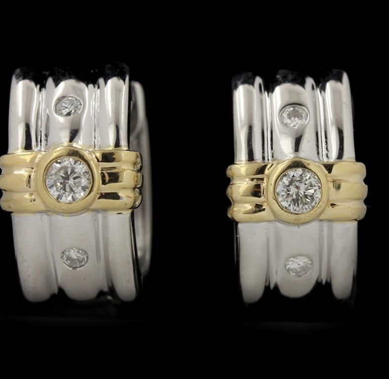 14KT White Gold 0.10ctw Diamond Earrings GB953