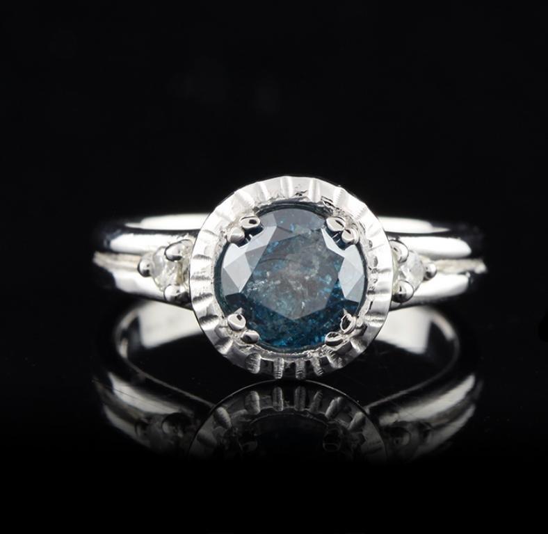 14KT White Gold 1.24ct Greenish Blue & White Diamond