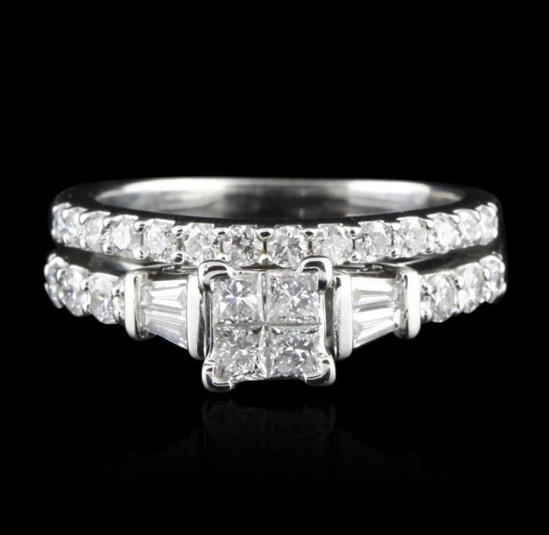 14KT White Gold 0.91ctw Diamond Wedding Ring Set GB1620