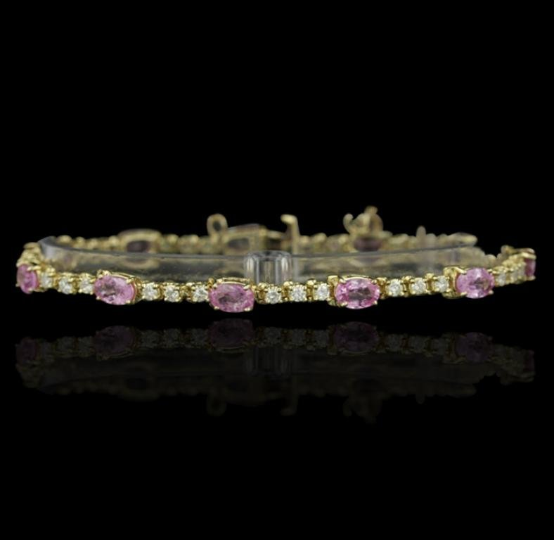 14KT Yellow Gold 8.00ctw Pink Sapphire and Diamond