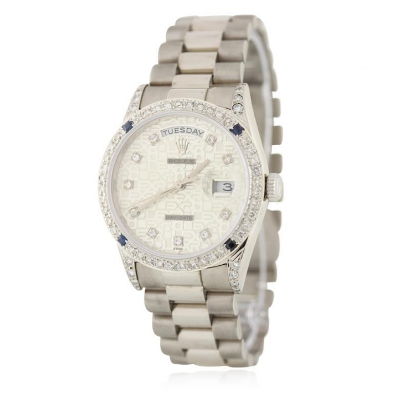 Gents Rolex 18KT White Gold DayDate Diamond Wristwatch