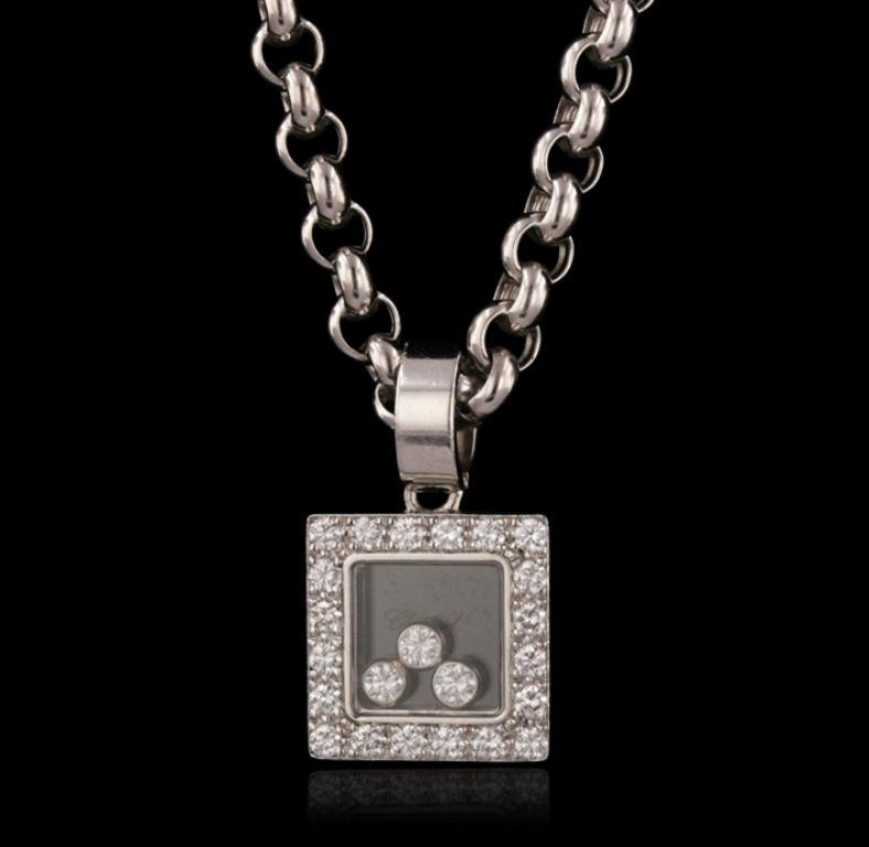 18KT White Gold 0.85ctw Diamond Chopard Pendant With